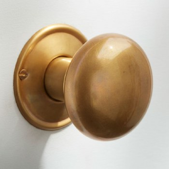 Plain Bun Mortice or Rim Door Knobs 56mm Antique Satin Brass