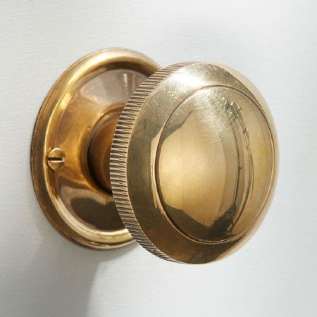Milled Edge Mortice or Rim Door Knobs 50mm Renovated Brass