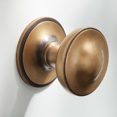 "Centre Door Knob 3"" Antique Satin Brass"