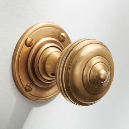 Turban Door Knobs Antique Satin Brass
