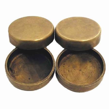 Set of 4 Castor Cups Antique Satin Brass
