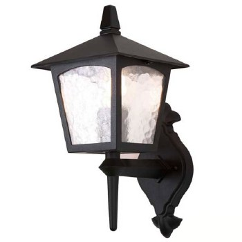 Elstead York Outdoor Wall Up Light Lantern Black