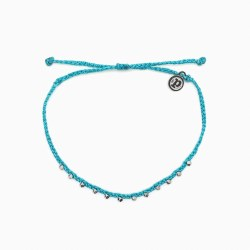 Anklet Silver Stitch Bead Blue