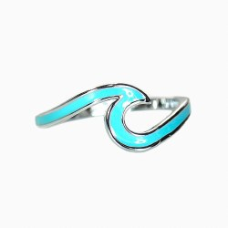 Ring Wave Silver Enameled Sz 6