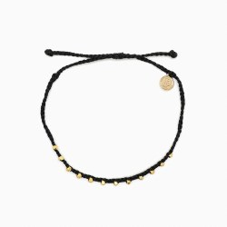 Ankle Gold Stitch Bead Black
