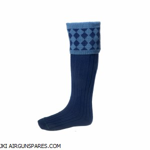 Chessboard Sock Navy Medium