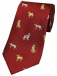 Woven Silk Tie Dogs Red