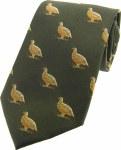 Woven Silk Tie Grouse Green