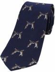 Woven Silk Tie Hares Blue