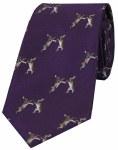 Woven Silk Tie Hares Purple