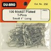"""T-Pins,Nickel Plated,1""""(100)"""