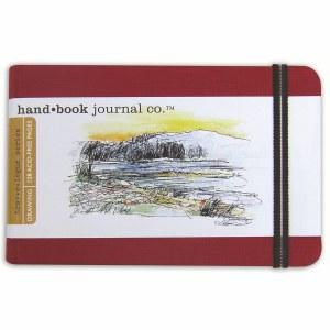 Hand Book Travelogue Journal Landscape Vermillion Red 3.5x5.5