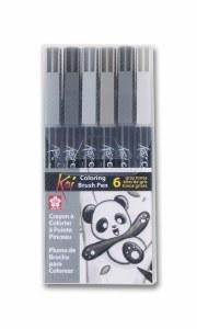 Sakura Koi Brush Pen Set of 6 Gray Tones