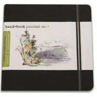 Hand Book Travelogue Journal Square Ivory Black 5.5x5.5