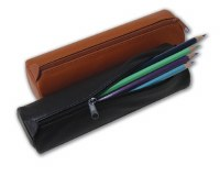 Global Art Black Leather Pencil Case Small
