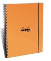 Rhodia Lined Elasti Book Wirebound 9x11.75 Orange