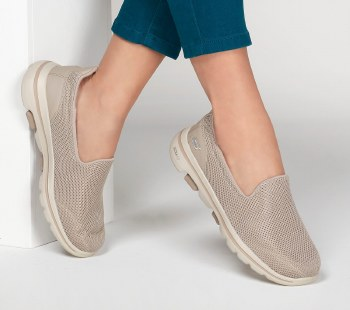 Skechers 'GOwalk 5' Ladies Shoes (Taupe)
