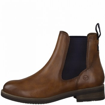 Tamaris '25312' Ladies Ankle Boots (Cognac/Navy)