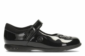 Clarks 'Trixi Rose Inf' Girls School Shoes (Black Patent)