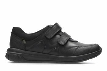Clarks 'Hula Go GTX' Boys School Shoes (Black)