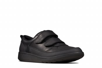 Clarks 'Scape Flair Youth' Boys School Shoes (Black)