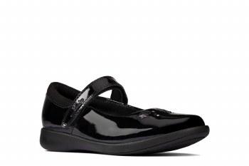 Clarks 'Etch Bright Kids' Girls School Shoes (Black Patent)