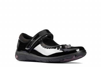 Clarks 'Sea Shimmer Toddler' Girls School Shoes (Black Patent)