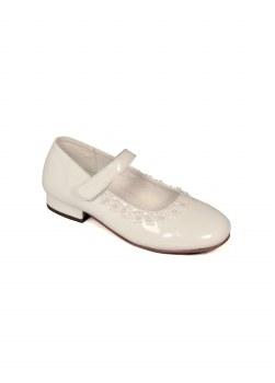 Dubarry 'Vivienne' Girls Communion Shoes (White Patent)