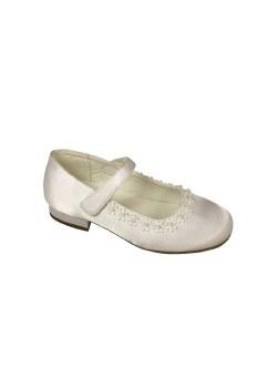 Dubarry 'Vivienne' Girls Communion Shoes (White Satin)