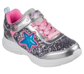 Skechers 'S Lights: Glimmer Kicks - Starlet Shine' Girls Trainers (Silver/Pink)