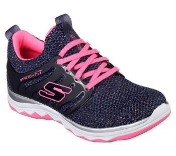 Skechers 'Diamond Runner - Sparkle Sprints' Girls Trainers (Navy/Pink)