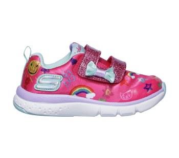 Skechers 'Jump Lites' Girls Shoes (Pink Multi)
