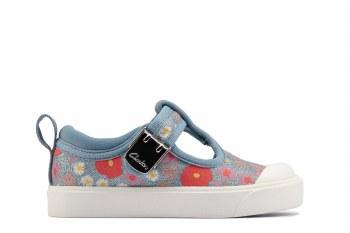 Clarks 'City Dance Toddler' Girls Shoes (Blue Floral)