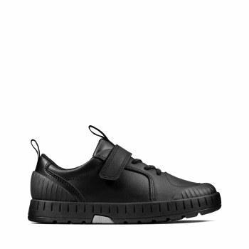 Clarks 'Apollo Step' Boys School Shoes (Black)