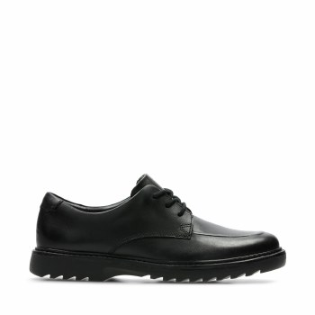 Clarks 'Asher Grove Youth' Boys School Shoes (Black)