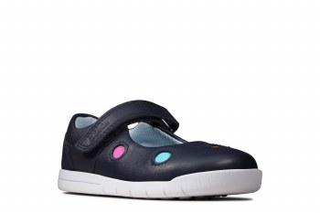 Clarks 'Emery Dot Toddler' Girls Shoes (Navy)