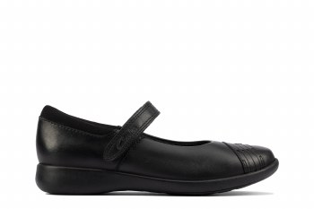 Clarks 'Etch Beam Kid' Girls School Shoes (Black Leather)
