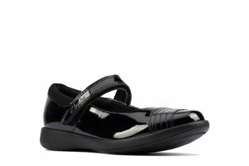 Clarks 'Etch Beam Kid' Girls School Shoes (Black)