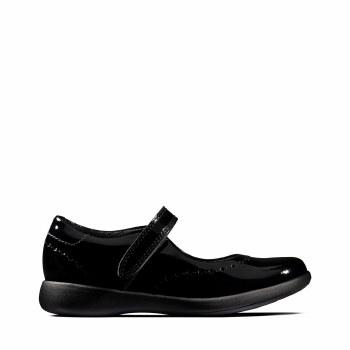 Clarks 'Etch Craft Kid' Girls School Shoes (Black Patent)