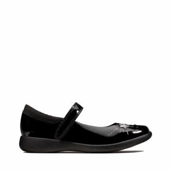 Clarks 'MendipStitch Kids' Girls School Shoes (Black Patent)