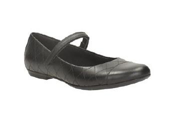 Clarks 'KimberlyGem BL' Girls School Shoes (Black)