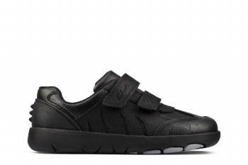 Clarks 'Rex Stride Kid' Boys School Shoes (Black)