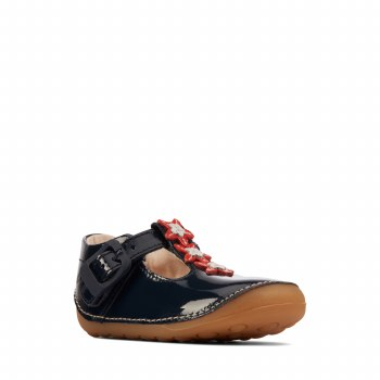 Clarks 'Tiny Flower Toddler' Girls Shoes (Navy Patent)