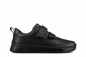 Clarks 'Vibrant Glow' Childrens School Shoes (Black Leather)