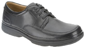 Clarks 'Swift Mile' Wide Fitting Mens Leather Shoe (Black)