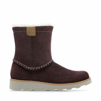 Clarks 'Crown Piper' Girls Boots (Burgundy Suede)