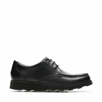 Clarks 'Crown Tate' Boys School Shoes (Black Leather)