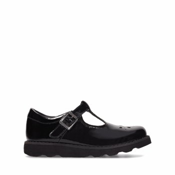 Clarks 'Crown Wish Inf' Girls School Shoes (Black Patent)