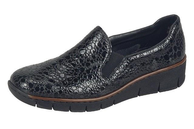 Rieker '53766' Ladies Shoes (Black/Grey