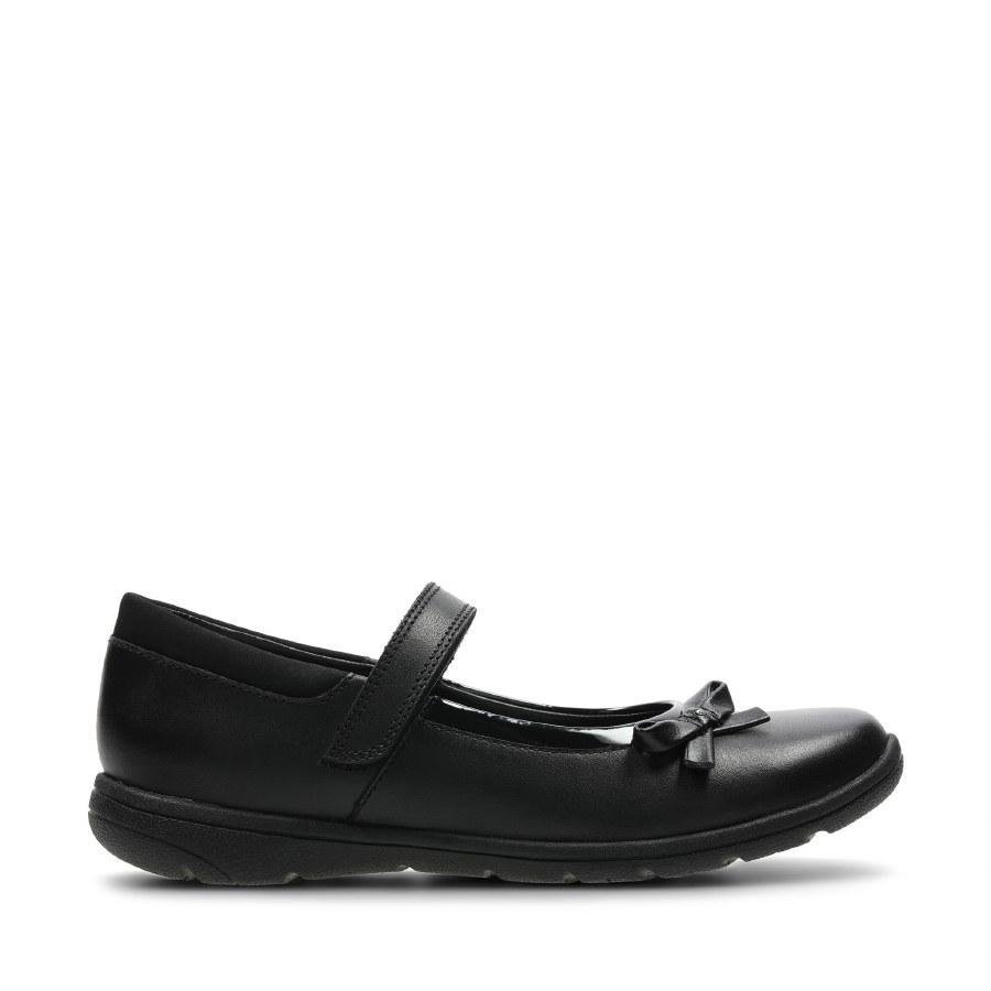 Clarks ' Venture Star' Girls School Shoes (Black Leather)